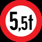 تابلو عبور وسیله ی نقلیه با وزن بیش از 5.5 تن ممنوع
