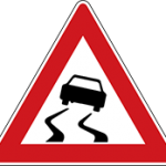 تابلو راهنمایی رانندگی راه لغزنده